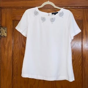 Banana Republic Short Sleeve Embellished Top Sz M